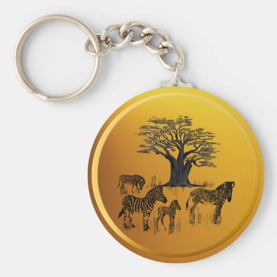 Zebra and Baobab Tree Keychain