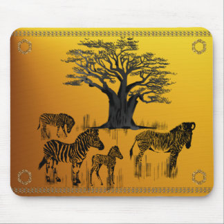 Zebra and Baobab Tree Mousepad