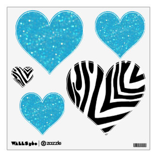 Zebra And Blue Glitzy Look Heart: Wall Decals