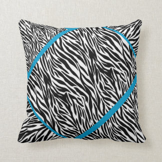 Zebra and Blue Stripe Styled Pillow