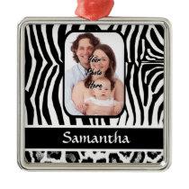 Zebra and cheetah print metal ornament