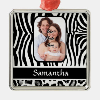 Zebra and cheetah print metal ornament