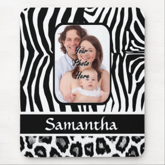 Zebra and cheetah print mouse pad