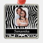 Zebra and cheetah print square metal christmas ornament