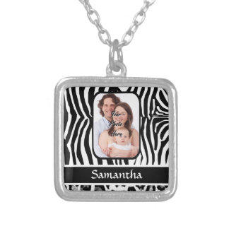 Zebra and cheetah print silver plated necklace