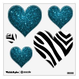 Zebra And Cyan Glittery Look Heart: Wall Decals
