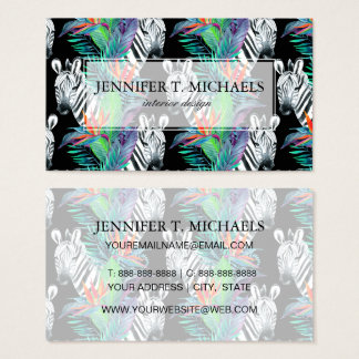 Zebra And Exotic Flowers Pattern Business Card