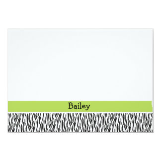 Zebra and green flat stationery (#FLAT 008) 5x7 Paper Invitation Card