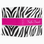 Zebra and Hot Pink Binder 1 inch