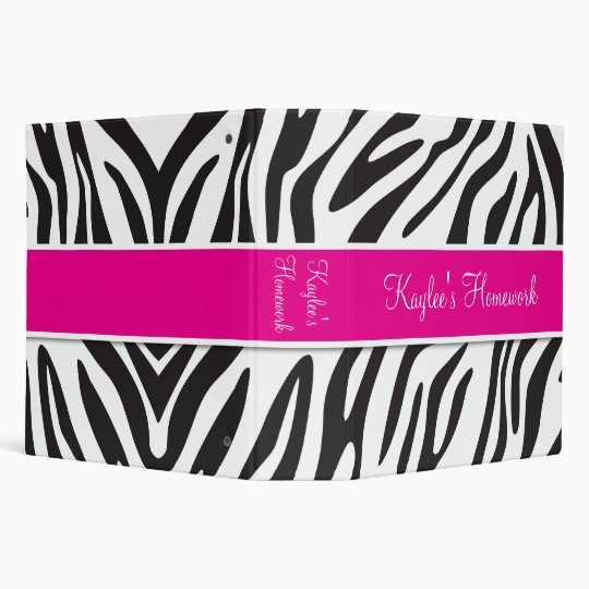 Zebra and Hot Pink Binder 2 inch