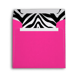 Zebra and Hot Pink Square Envelope