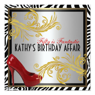 Zebra and Hot Red Heels 50th Birthday Party Invite