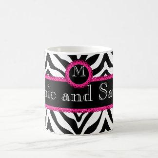 Zebra and Lace Chic and Sassy Monogram Classic White Coffee Mug