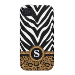 Zebra and Leopard Print Monogram iPhone4 Case iPhone 4/4S Cover