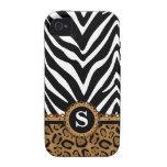Zebra and Leopard Print Monogram iPhone4 Case