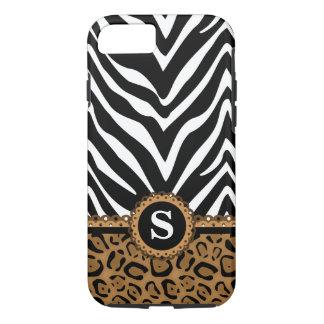Zebra and Leopard Print Monogram iPhone 7 Case