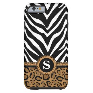 Zebra and Leopard Print Monogram Tough iPhone 6 Case