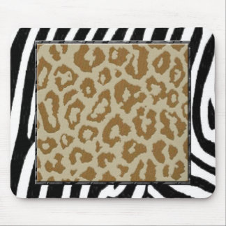 zebra and leopard print mouse pad