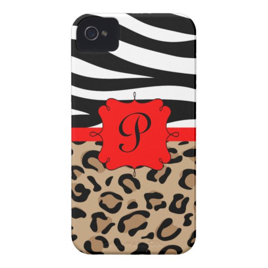 Zebra and Leopard Print Personalized Monogram iPhone 4 Cover