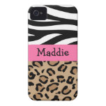 Zebra and Leopard Print Personalized with Name iPhone 4 Cases