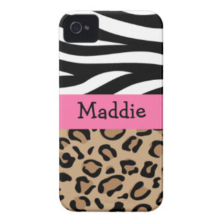 Zebra and Leopard Print Personalized with Name iPhone 4 Cover