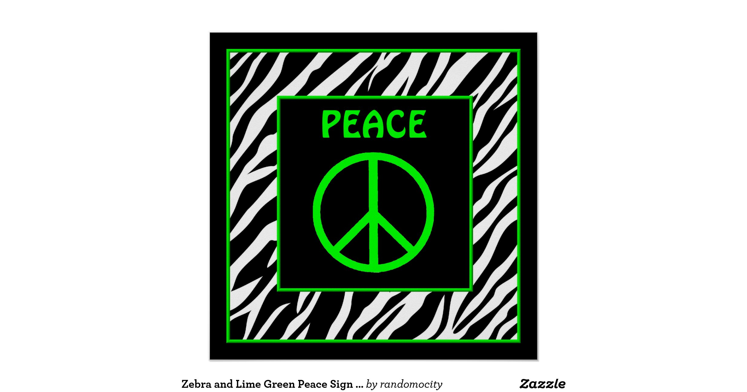 Wall Art Greenpeace : Zebra and lime green peace sign wall decor poster