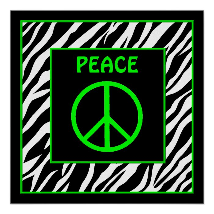 Wall Art Greenpeace : Zebra and lime green peace sign wall decor poster zazzle