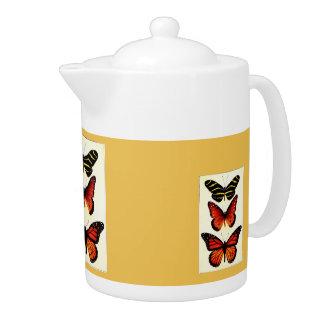 Zebra and Milkweed Butterflies Teapot