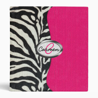 Zebra and Neon Pink with Metallic Monogram Binder