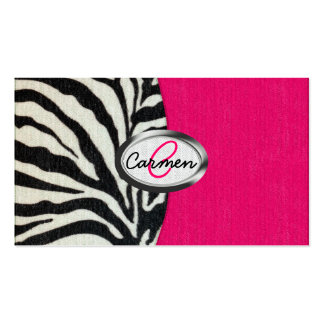 Zebra and Neon Pink with Metallic Monogram Business Card