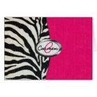 Zebra and Neon Pink with Metallic Monogram Card