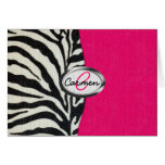 Zebra and Neon Pink with Metallic Monogram Greeting Card