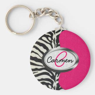 Zebra and Neon Pink with Metallic Monogram Keychain
