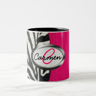 Zebra and Neon Pink with Metallic Monogram Two-Tone Coffee Mug