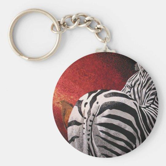 Zebra and Oxpecker Keychain
