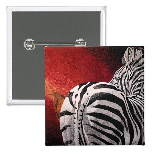 Zebra and Oxpecker Pinback Button
