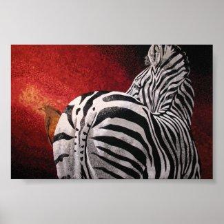 Zebra and Oxpecker Print