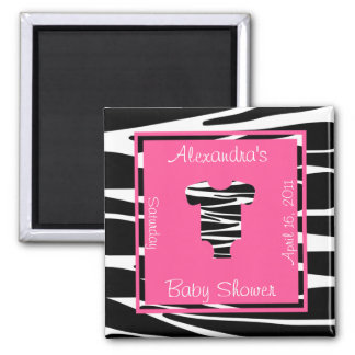 Zebra and Pink Clothes Baby Shower Favor 2 Inch Square Magnet