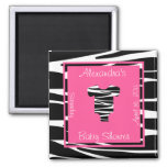 Zebra and Pink Clothes Baby Shower Favor Magnet