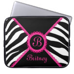 Zebra and Pink Lace Monogram Laptop Sleeve
