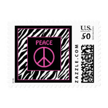 Zebra and Pink Peace Sign Postage Stamps