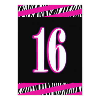 Zebra and Pink Sweet 16 Birthday Invitation