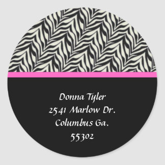 Zebra and Pink Trimmed Address Stickers