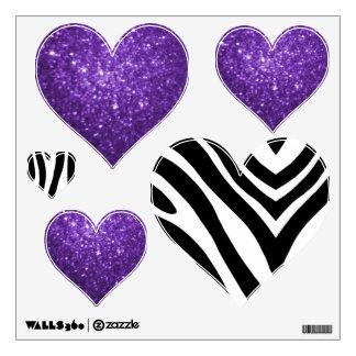 Zebra And Purple Glittery Look Heart: Wall Decals
