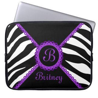 Zebra and Purple Lace Monogram Laptop Sleeve