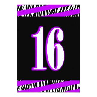Zebra and Purple Sweet 16 Birthday Invitation