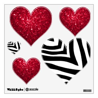 Zebra And Red Glittery Look Heart: Wall Decals