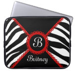 Zebra and Red Lace Monogram Laptop Sleeve