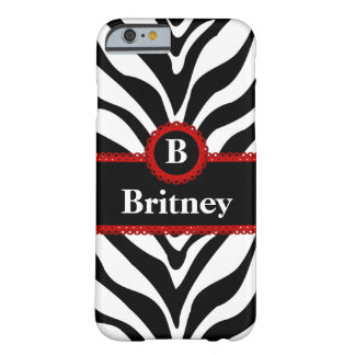 Zebra and Red Lace Monogram Name Barely There iPhone 6 Case