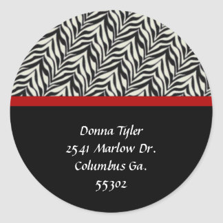 Zebra and Red Trimmed Address Stickers